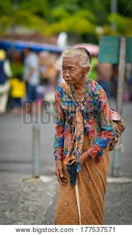 Jogjakarta, Central Java, Indonesia - Circa January 2012 - Portrait of an old Indonesian woman in Jogjakarta, Indonesia