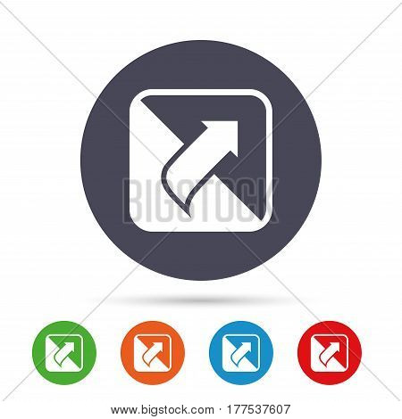 Turn page sign icon. Peel back the corner of the sheet symbol. Round colourful buttons with flat icons. Vector