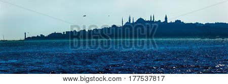View of the beautiful blue Istanbul sailing Bosphorus. Topkapi, Hagia Sophia and Blue mosque on the horizon in the evening mist.
