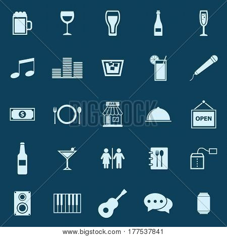 Bar color icons on blue background, stock vector