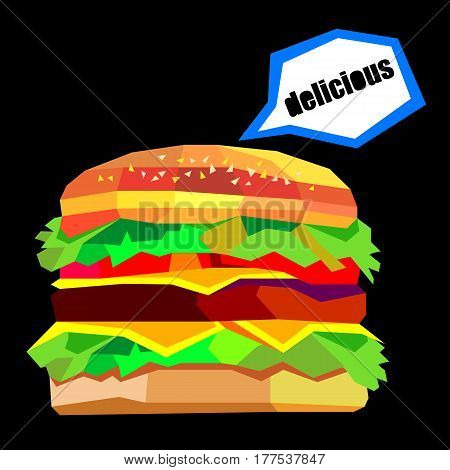 illustration of a burger, vector drawing burger cheeseburger sandwich