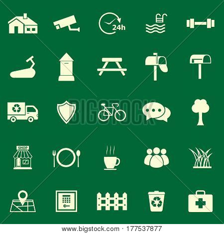 Village color icons on green background, stock vector
