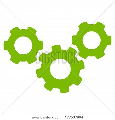 System Gears vector icon. Flat eco green symbol. Pictogram is isolated on a white background. Designed for web and software interfaces.
