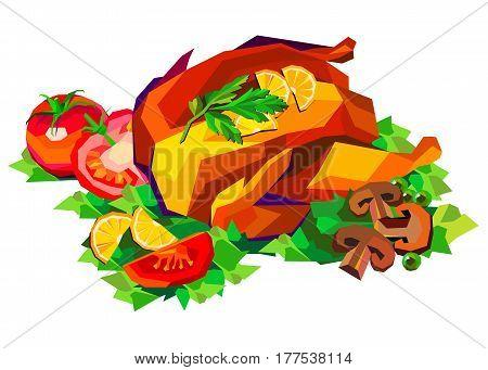 Vector illustration of roast chicken, dinner, baked, roasted, food