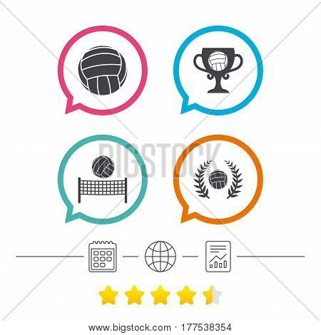 Volleyball and net icons. Winner award cup and laurel wreath symbols. Beach sport symbol. Calendar, internet globe and report linear icons. Star vote ranking. Vector