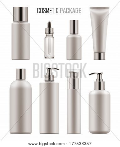 Set of realistic empty packages for body cosmetic. Collection of blank template of container for lotion or tonic, serum or oil, tube for cream, bottle with pump. Vector mock-up isolated on white