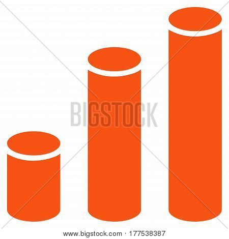Bar Chart Cylinders vector icon. Flat orange symbol. Pictogram is isolated on a white background. Designed for web and software interfaces.