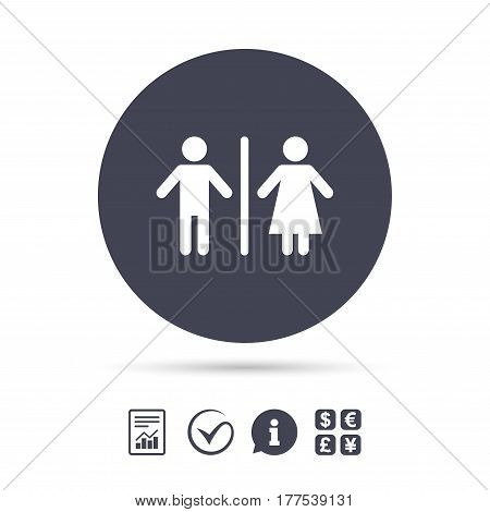WC sign icon. Toilet symbol. Male and Female toilet. Report document, information and check tick icons. Currency exchange. Vector