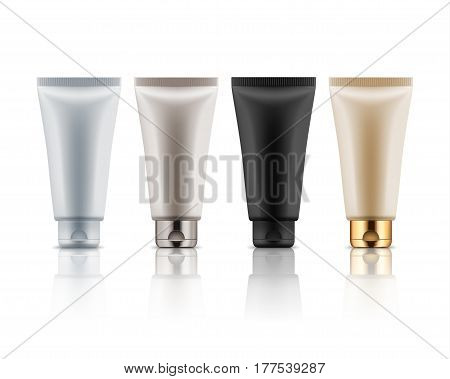Realistic plastic tubes for cosmetic products. Vector set of blank template containers for: gel of skincare, hand care cream, bb, face mask or foundation. White, black, beige, grey and golden colors