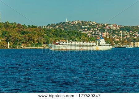 Livestock carrier sails Bosphorus on sunny autumn day, Instanbul, Turkey.