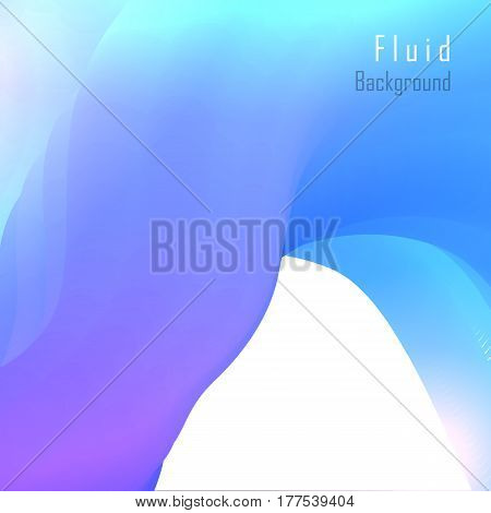 Vector fluid background with blue paint splash. Liquid magic and futuristic art. Abstract holographic flowing wave shape - design for banner, poster, cover, flyer, placards.