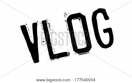 Vlog rubber stamp. Grunge design with dust scratches. Effects can be easily removed for a clean, crisp look. Color is easily changed.