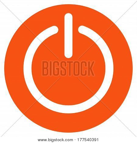 Turn Off Power vector icon. Flat orange symbol. Pictogram is isolated on a white background. Designed for web and software interfaces.