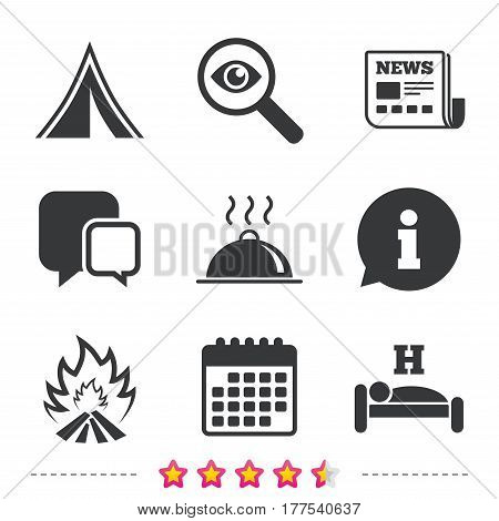 Hot food, sleep, camping tent and fire icons. Hotel or bed and breakfast. Road signs. Newspaper, information and calendar icons. Investigate magnifier, chat symbol. Vector
