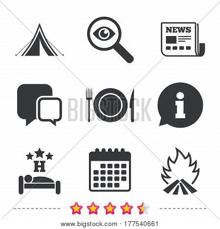 Food, sleep, camping tent and fire icons. Knife, fork and dish. Hotel or bed and breakfast. Road signs. Newspaper, information and calendar icons. Investigate magnifier, chat symbol. Vector
