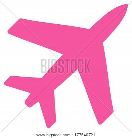 Airplane vector icon. Flat pink symbol. Pictogram is isolated on a white background. Designed for web and software interfaces.