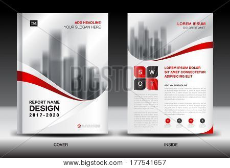 Annual report brochure flyer template Red cover design business flyer template book magazine ads booklet vector illustration