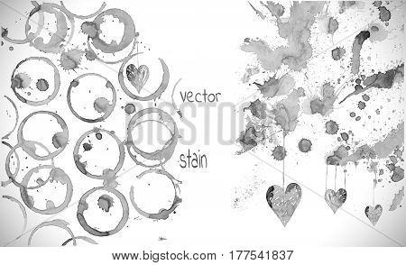 Vector Set Of Stains. Grunge Glass Stains.