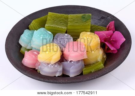 Thai Steamed Layer Cake In Cube And Rose Shape.
