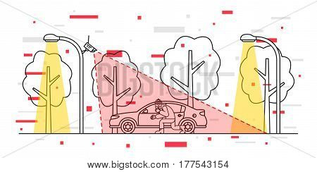 Car video surveillance vector illustration with decorative elements. Outdoor camera control creative concept. Car thief detection graphic design.