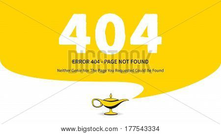 Error 404 page with magic lamp vector illustration. Broken web page graphic design. Error 404 page not found creative wide screen template.