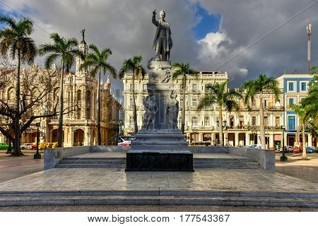 Havana, Cuba - January 7 2017: The Central Park of Havana with the Jose Marti Monument.