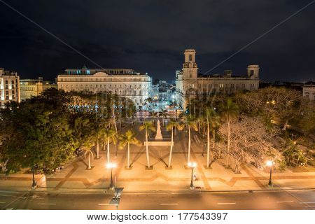 Havana, Cuba - January 7 2017: Aerial view of the Central Park of Havana with the Jose Marti Monument.