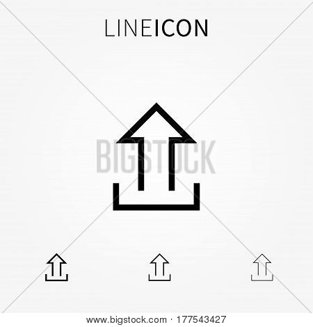 Upload vector icon. Arrow up line art sign.