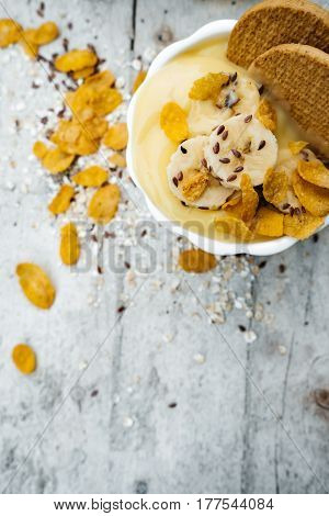 Vertical Photo Banana Mousse With Biscuits On White Wooden Board For Breakfast, Healthy Vegetarian D