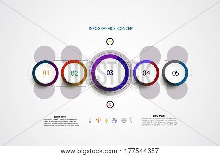 Infographics timeline template for business concept and icons. Can be used for workflow layout diagram number options step up options web design presentations with 5 steps options.Vector illustration.