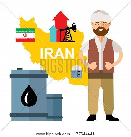 Iranian, barrel, map, rig, flag. Isolated on a white background