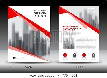 Annual report brochure flyer template Red cover design business book company profile
