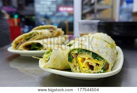 Chinese Pancake Roll With Chives And Egg