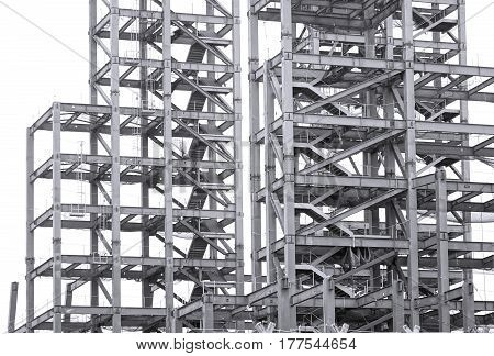 Monochrome image of a large steel structure for a construction project