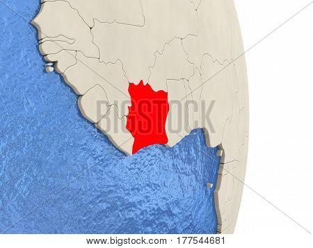 Ivory Coast On Model Of Political Globe