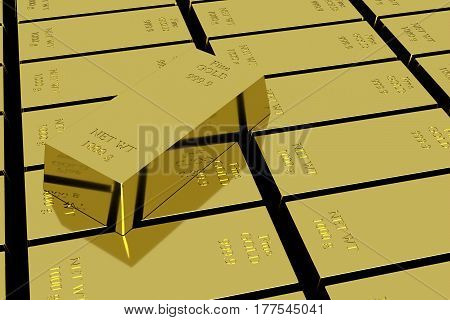 Gold bar 1000 grams stack and single ingot above. Business investment and wealth concept 3D Rendering.