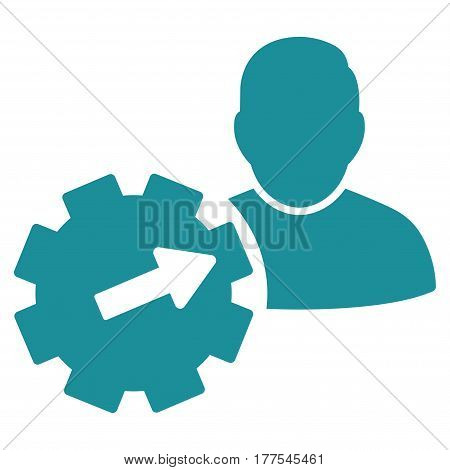 User Integration API Gear vector icon. Flat soft blue symbol. Pictogram is isolated on a white background. Designed for web and software interfaces.
