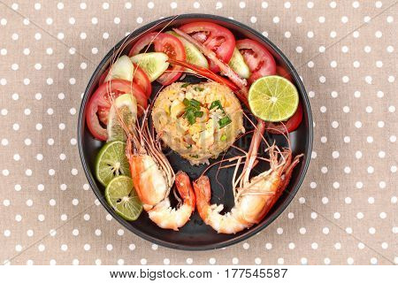Fried Jasmine Rice With Large Prawns In Heart Shape.