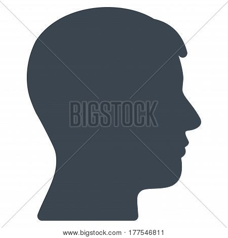 Man Head Profile vector icon. Flat smooth blue symbol. Pictogram is isolated on a white background. Designed for web and software interfaces.