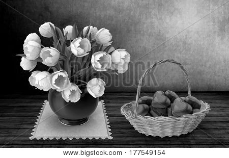 Still life: on the surface of the wooden table stands on a napkin ceramic vase with white tulips standing next to a wicker basket of candy. 3D rendering