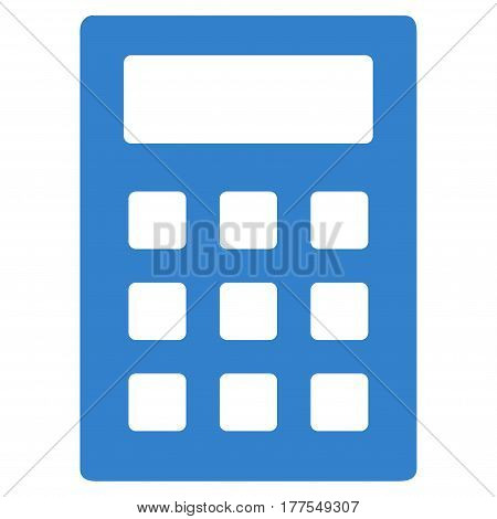 Calculator vector icon. Flat cobalt symbol. Pictogram is isolated on a white background. Designed for web and software interfaces.