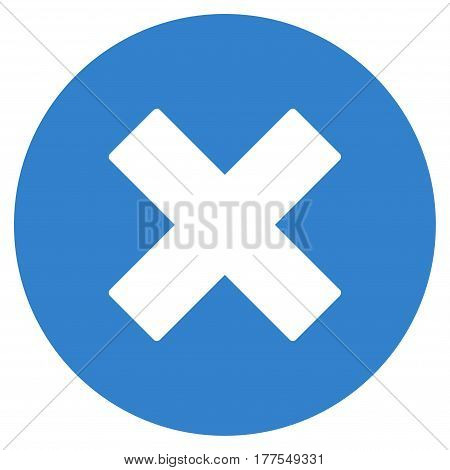 Cancel vector icon. Flat cobalt symbol. Pictogram is isolated on a white background. Designed for web and software interfaces.