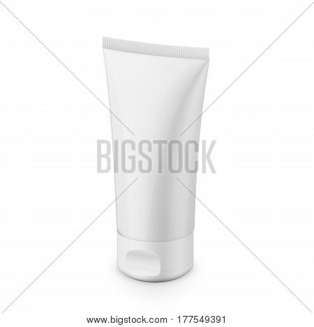 White glossy plastic tube for medicine or cosmetics - cream, gel, skin care, toothpaste. Realistic packaging mockup template. Eye-level view. Isolated on white background. Vector illustration.