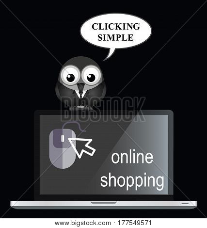 Comical online internet shopping with bird businessman shopper