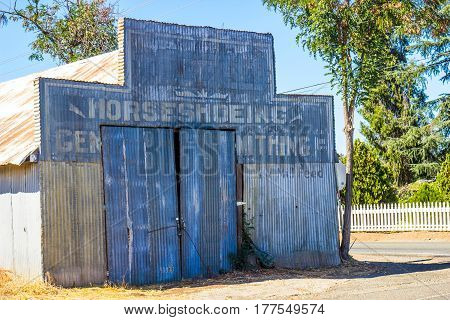 Vintage Corrugated Tin Building Used For Horse Shoeing