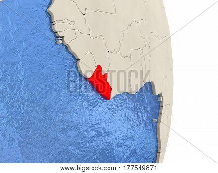 Liberia On Model Of Political Globe
