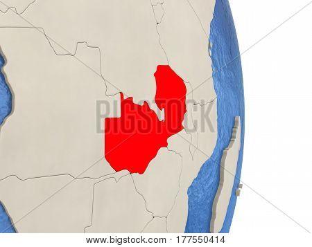 Zambia On Model Of Political Globe