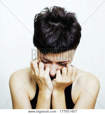 portrait of young girl teenage looking bad like junkie isolated on white background, social issues concept close up