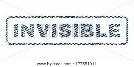 Invisible text textile seal stamp watermark. Blue jeans fabric vectorized texture. Vector caption inside rounded rectangular banner. Rubber sticker with fiber textile structure.