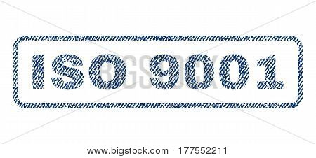 ISO 9001 text textile seal stamp watermark. Blue jeans fabric vectorized texture. Vector tag inside rounded rectangular shape. Rubber sticker with fiber textile structure.